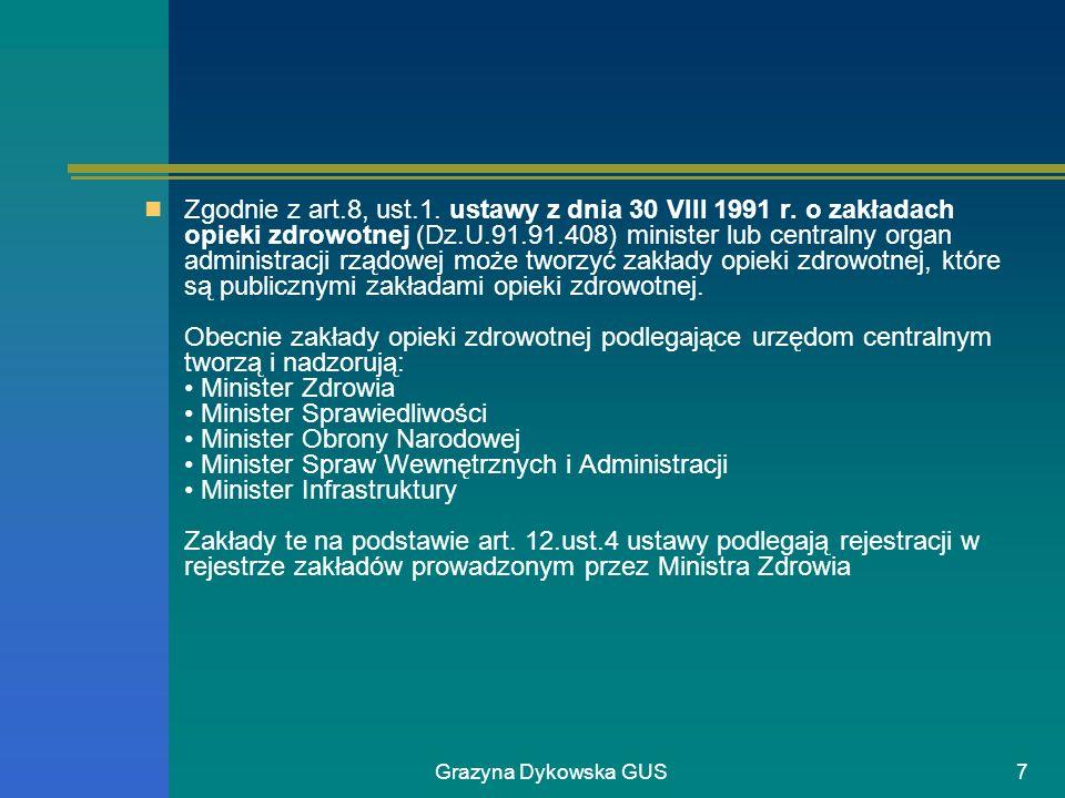 Grazyna Dykowska GUS8 Szpital jest zakładem opieki zdrowotnej, który udziela świadczeń zdrowotnych osobom wymagającym udzielania całodobowych lub całodziennych świadczeń zdrowotnych w odpowiednim stałym pomieszczeniu (art.2, ust.1, pkt.1 ustawy z dnia 30.VIII.1991 r.