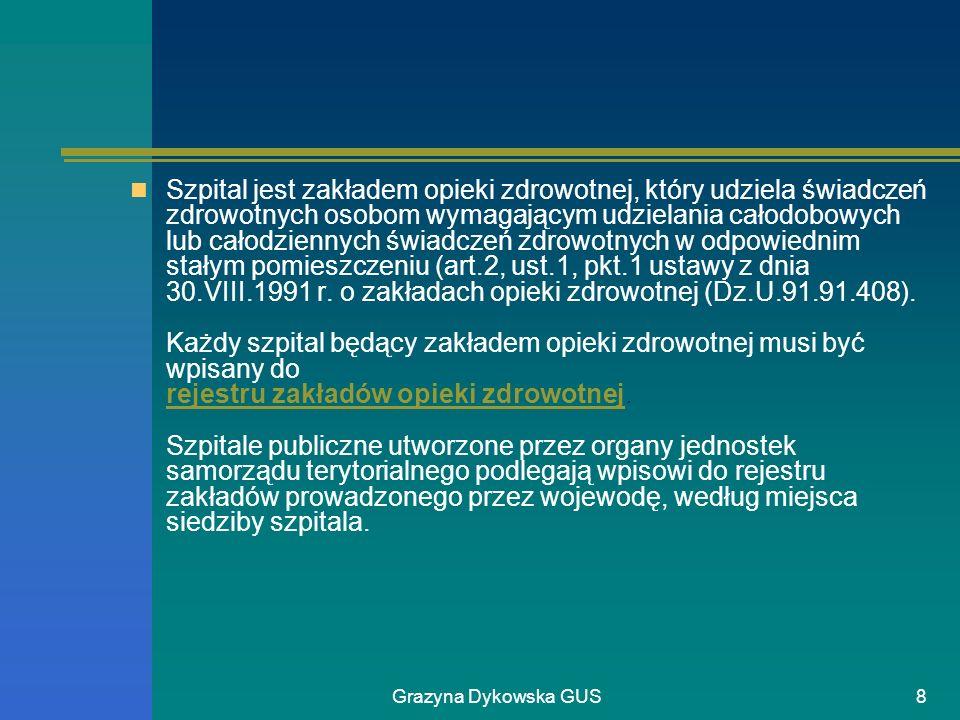 Grazyna Dykowska GUS8 Szpital jest zakładem opieki zdrowotnej, który udziela świadczeń zdrowotnych osobom wymagającym udzielania całodobowych lub cało