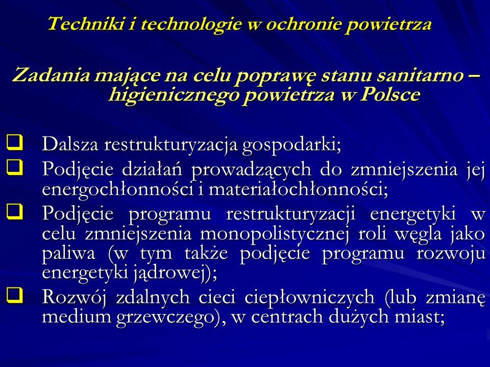 Techniki i technologie w ochronie powietrza Zadania mające na celu poprawę stanu sanitarno – higienicznego powietrza w Polsce Dalsza restrukturyzacja