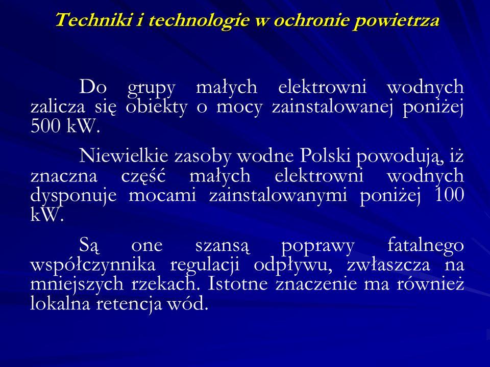 Techniki i technologie w ochronie powietrza Do grupy małych elektrowni wodnych zalicza się obiekty o mocy zainstalowanej poniżej 500 kW. Niewielkie za