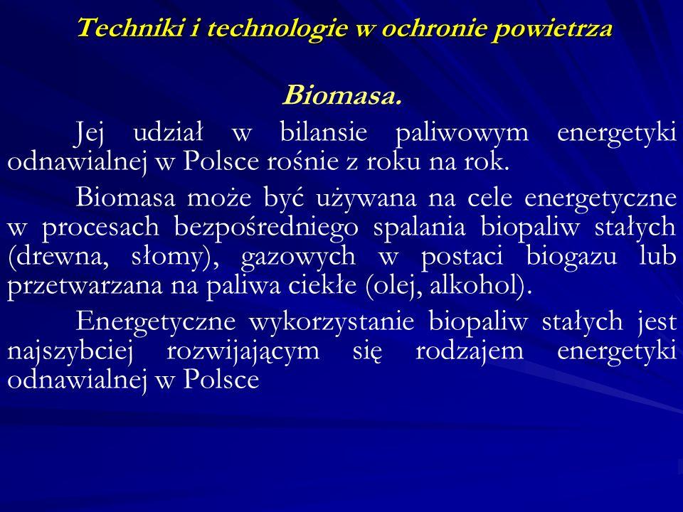 Techniki i technologie w ochronie powietrza Biomasa. Jej udział w bilansie paliwowym energetyki odnawialnej w Polsce rośnie z roku na rok. Biomasa moż
