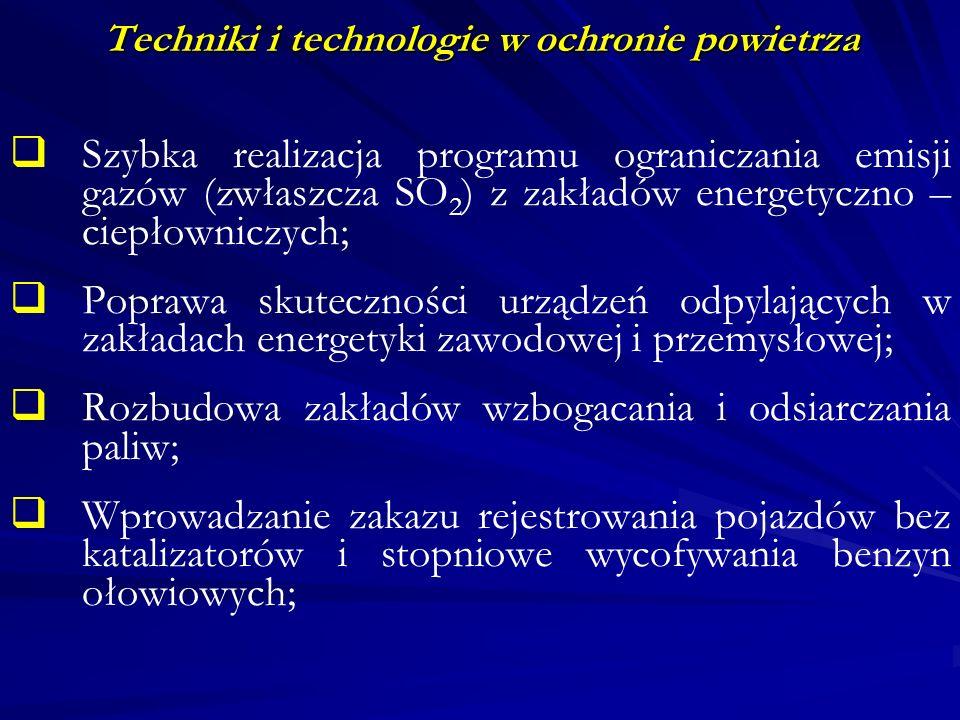 Techniki i technologie w ochronie powietrza Wprowadzanie w przemyśle nowych technologii o znacznie niższych wskaźnikach emisji zanieczyszczeń; Realizacja programu znacznego wzrostu lesistości obszaru Polski; Doskonalenie mechanizmów prawnych i ekonomicznych wymuszających dbałość o stan środowiska; Zapewnienie spójności pomiędzy długotrwałą polityką ekologiczną państwa a bieżącą polityką gospodarczą.