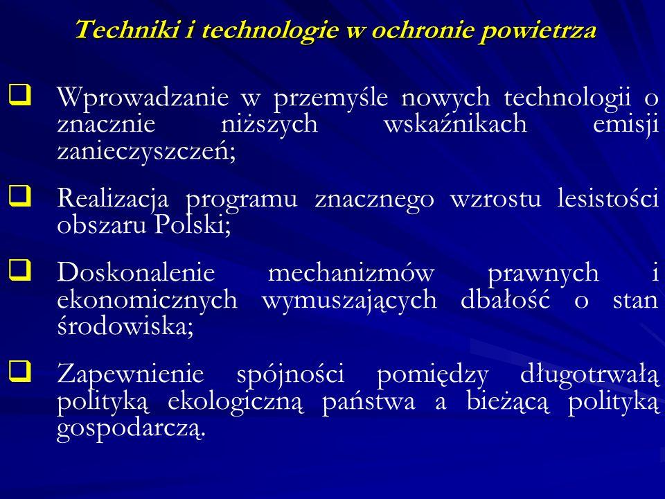 Techniki i technologie w ochronie powietrza Rozwiązania w zakresie techniki i technologii dla zakładów już istniejących W asortymencie produkcji (wyeliminowanie produkcji najsilniej degradującej środowisko); W stosowanych surowcach (np.