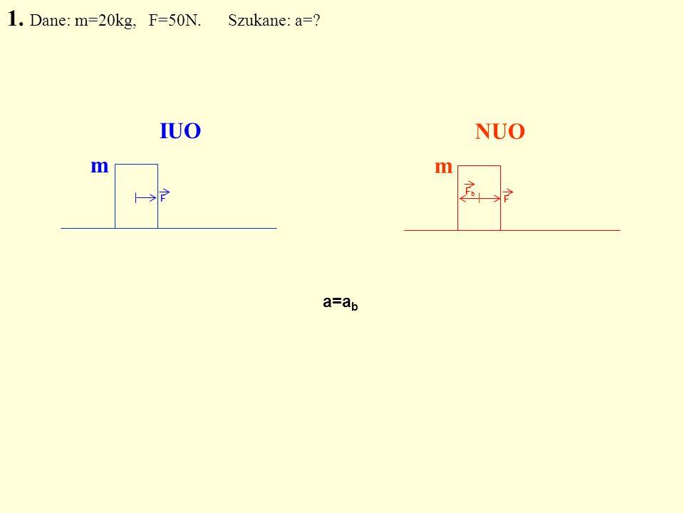 F F FbFb IUO NUO 1. Dane: m=20kg, F=50N. Szukane: a=? m m a=a b