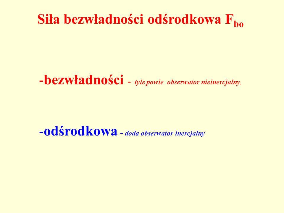 Siła bezwładności odśrodkowa F bo -bezwładności - tyle powie obserwator nieinercjalny, -odśrodkowa - doda obserwator inercjalny