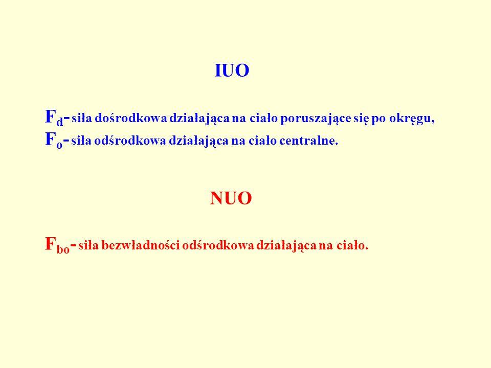 IUO F d - siła dośrodkowa działająca na ciało poruszające się po okręgu, F o - siła odśrodkowa działająca na ciało centralne. NUO F bo - siła bezwładn