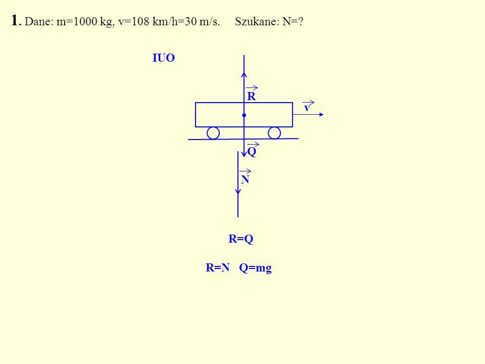 . R Q N R=Q IUO R=N Q=mg 1. Dane: m=1000 kg, v=108 km/h=30 m/s. Szukane: N=? v