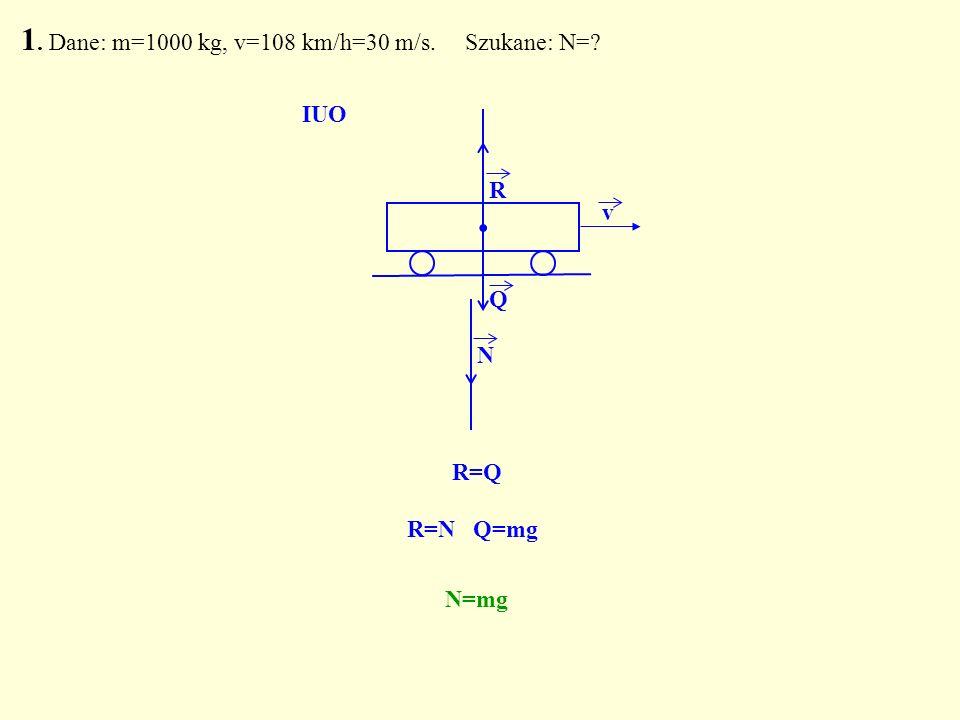 . R Q N R=Q IUO R=N Q=mg N=mg 1. Dane: m=1000 kg, v=108 km/h=30 m/s. Szukane: N=? v