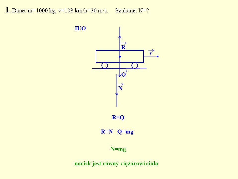 . R Q N R=Q IUO R=N Q=mg N=mg nacisk jest równy ciężarowi ciała 1. Dane: m=1000 kg, v=108 km/h=30 m/s. Szukane: N=? v