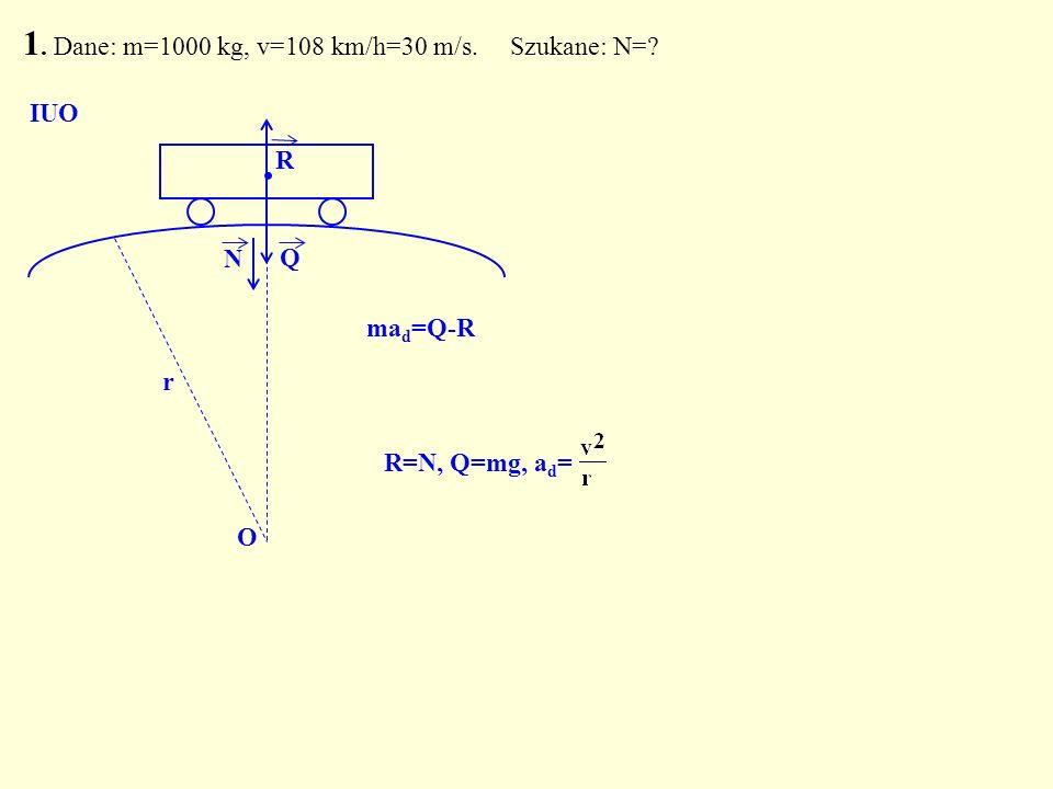 1. Dane: m=1000 kg, v=108 km/h=30 m/s. Szukane: N=? Q. N O IUO R R=N, Q=mg, a d = r ma d =Q-R