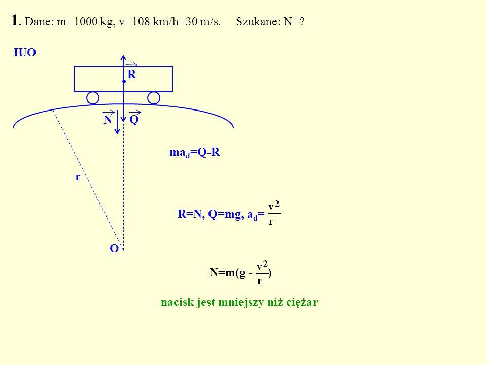 1. Dane: m=1000 kg, v=108 km/h=30 m/s. Szukane: N=? Q. N O IUO R N=m(g - ) nacisk jest mniejszy niż ciężar R=N, Q=mg, a d = r ma d =Q-R