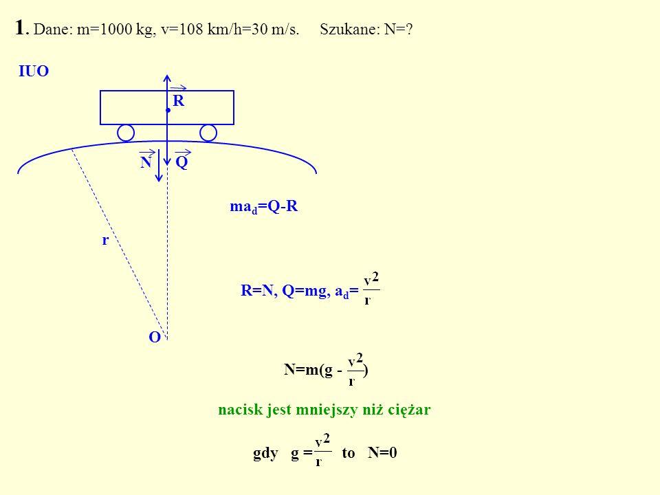 1. Dane: m=1000 kg, v=108 km/h=30 m/s. Szukane: N=? Q. N O IUO R N=m(g - ) nacisk jest mniejszy niż ciężar gdy g = to N=0 R=N, Q=mg, a d = r ma d =Q-R