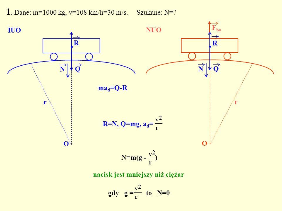 gdy g = to N=0 1. Dane: m=1000 kg, v=108 km/h=30 m/s. Szukane: N=? Q. N O IUO Q. R N O r NUO R F bo N=m(g - ) nacisk jest mniejszy niż ciężar R=N, Q=m