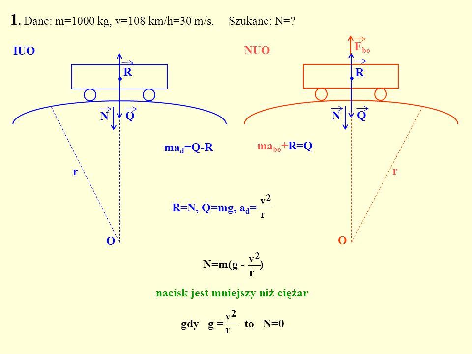 1. Dane: m=1000 kg, v=108 km/h=30 m/s. Szukane: N=? Q. N O ma d =Q-R IUO Q. R N O r ma bo +R=Q NUO R F bo N=m(g - ) nacisk jest mniejszy niż ciężar gd