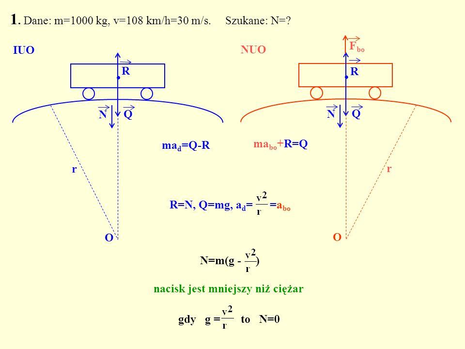 1. Dane: m=1000 kg, v=108 km/h=30 m/s. Szukane: N=? Q. N O IUO Q. R N O r ma bo +R=Q NUO R F bo R=N, Q=mg, a d = =a bo N=m(g - ) nacisk jest mniejszy