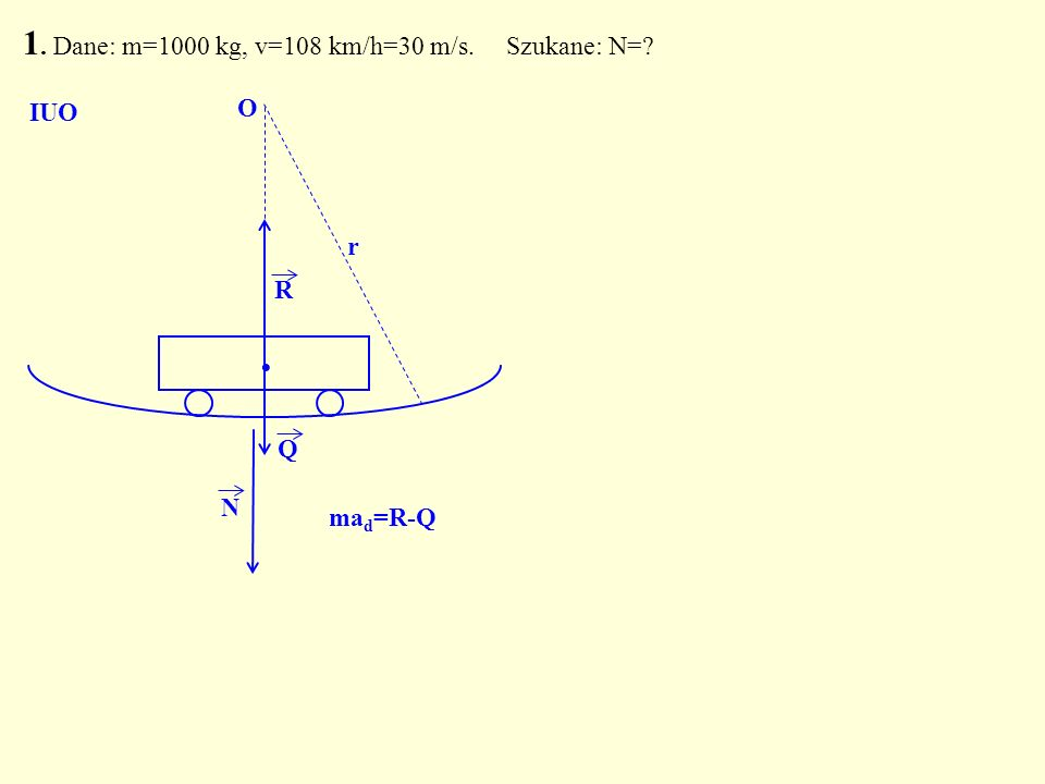 Q. R N O r 1. Dane: m=1000 kg, v=108 km/h=30 m/s. Szukane: N=? IUO ma d =R-Q