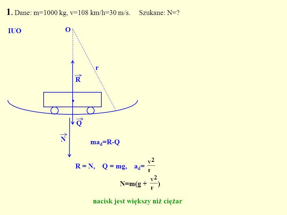 R = N, Q = mg, a d = Q. R N O r 1. Dane: m=1000 kg, v=108 km/h=30 m/s. Szukane: N=? N=m(g + ) nacisk jest większy niż ciężar IUO ma d =R-Q