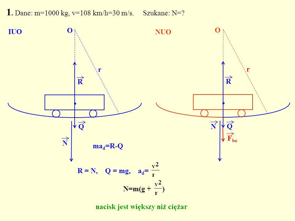 R = N, Q = mg, a d = N=m(g + ) nacisk jest większy niż ciężar Q. R N O r 1. Dane: m=1000 kg, v=108 km/h=30 m/s. Szukane: N=? Q. R N r F bo O IUO NUO m