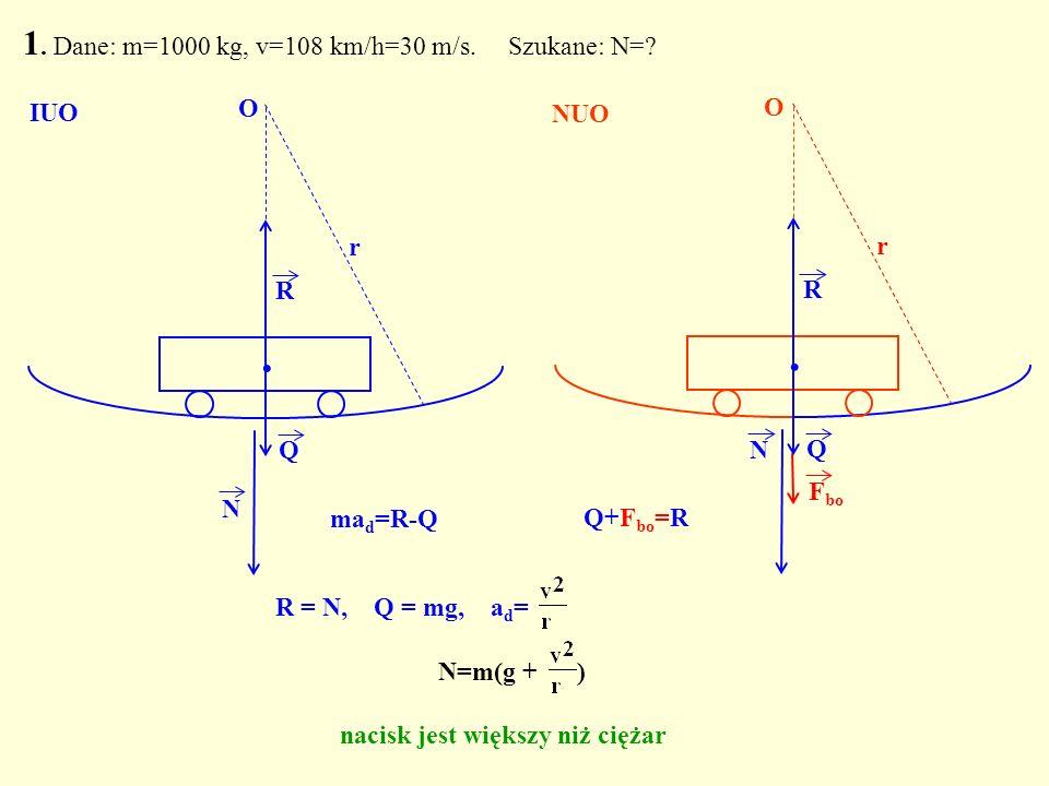 R = N, Q = mg, a d = Q. R N O r 1. Dane: m=1000 kg, v=108 km/h=30 m/s. Szukane: N=? Q. R N r F bo O IUO NUO N=m(g + ) nacisk jest większy niż ciężar m