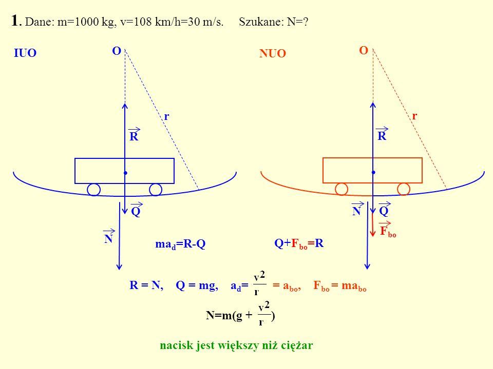 R = N, Q = mg, a d = = a bo, F bo = ma bo Q. R N O r 1. Dane: m=1000 kg, v=108 km/h=30 m/s. Szukane: N=? Q. R N r F bo O IUO NUO N=m(g + ) nacisk jest