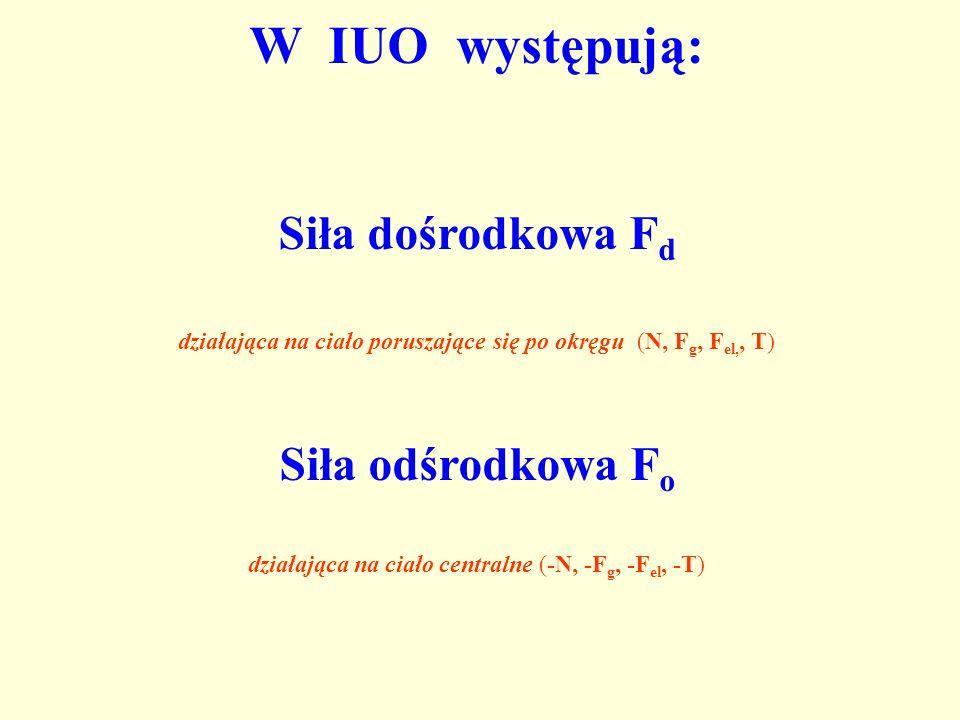 W IUO występują: Siła dośrodkowa F d działająca na ciało poruszające się po okręgu (N, F g, F el,, T) Siła odśrodkowa F o działająca na ciało centraln