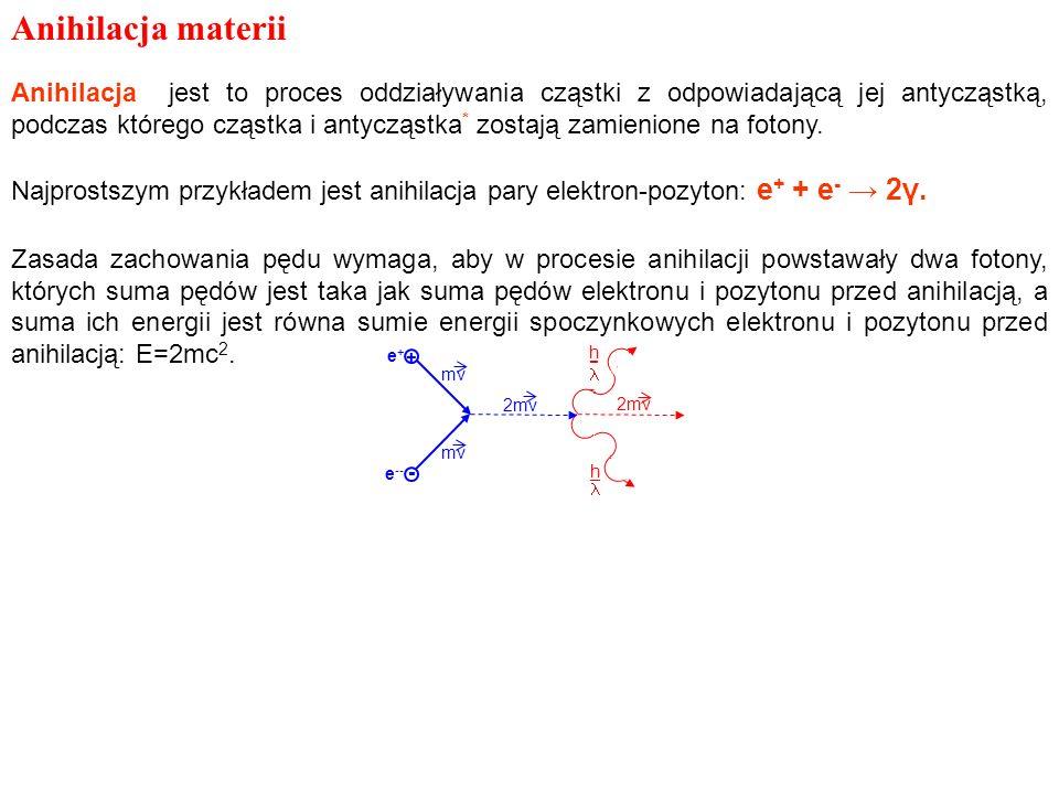 Anihilacja materii Anihilacja jest to proces oddziaływania cząstki z odpowiadającą jej antycząstką, podczas którego cząstka i antycząstka * zostają za