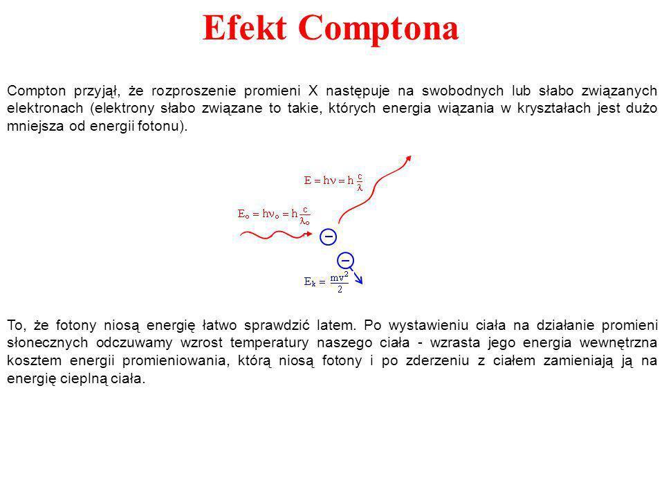 Compton przyjął, że rozproszenie promieni X następuje na swobodnych lub słabo związanych elektronach (elektrony słabo związane to takie, których energia wiązania w kryształach jest dużo mniejsza od energii fotonu).