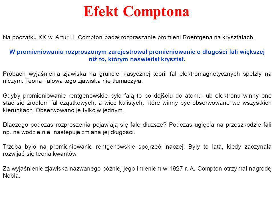 Na początku XX w. Artur H. Compton badał rozpraszanie promieni Roentgena na kryształach. W promieniowaniu rozproszonym zarejestrował promieniowanie o
