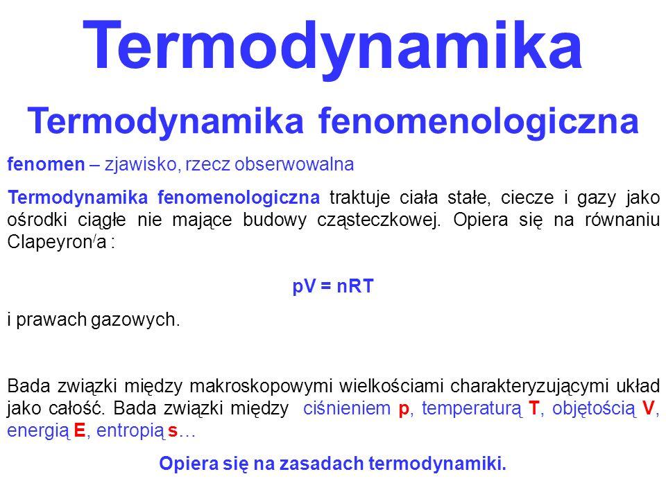 Termodynamika Termodynamika fenomenologiczna fenomen – zjawisko, rzecz obserwowalna Termodynamika fenomenologiczna traktuje ciała stałe, ciecze i gazy
