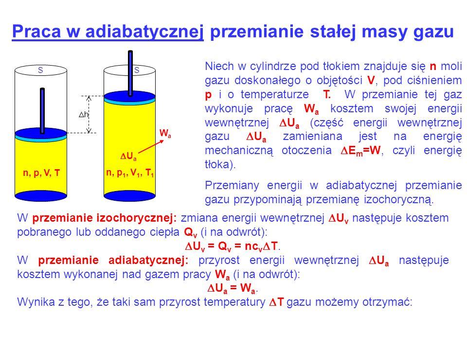 WaWa h SS n, p, V, T U a n, p 1, V 1, T 1 Praca w adiabatycznej przemianie stałej masy gazu Niech w cylindrze pod tłokiem znajduje się n moli gazu dos
