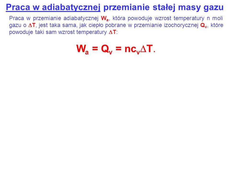 Praca w adiabatycznej przemianie stałej masy gazu Praca w przemianie adiabatycznej W a, która powoduje wzrost temperatury n moli gazu o T, jest taka s