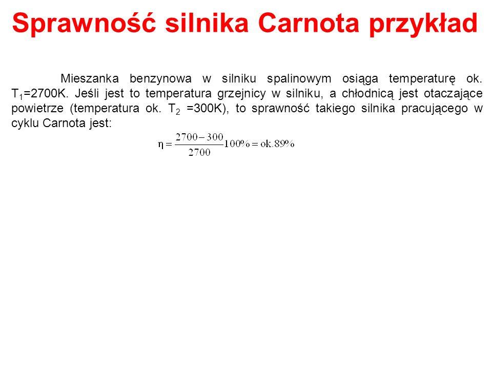 Sprawność silnika Carnota przykład Mieszanka benzynowa w silniku spalinowym osiąga temperaturę ok. T 1 =2700K. Jeśli jest to temperatura grzejnicy w s