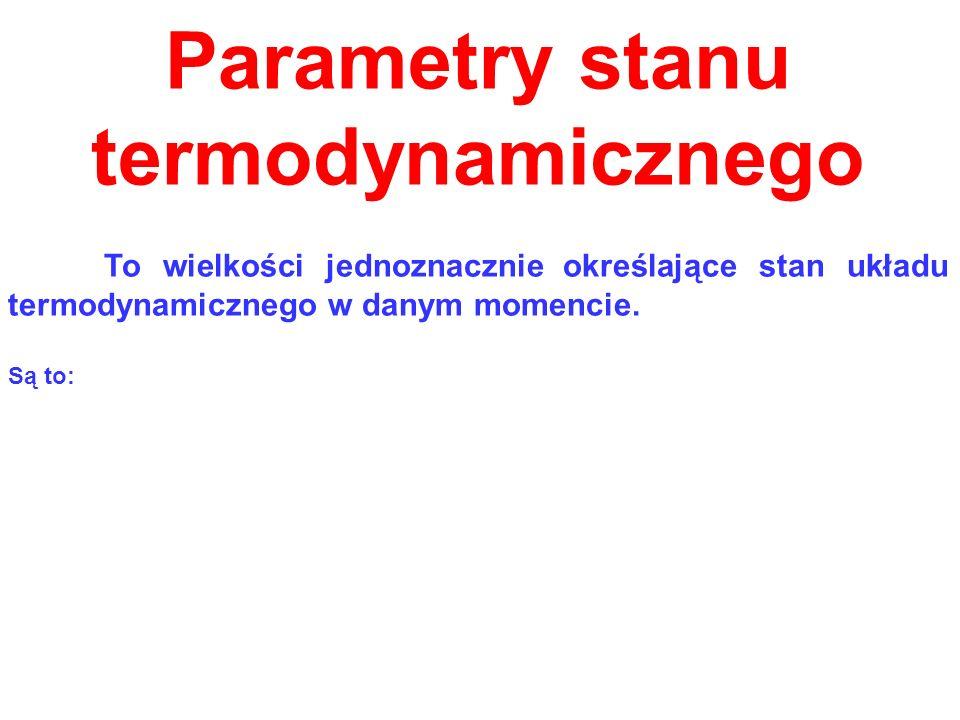 Parametry stanu termodynamicznego To wielkości jednoznacznie określające stan układu termodynamicznego w danym momencie. Są to: