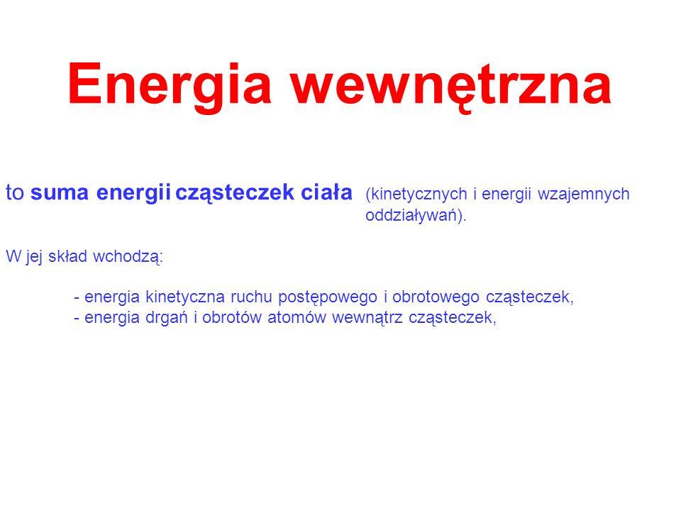 Energia wewnętrzna to suma energii cząsteczek ciała (kinetycznych i energii wzajemnych oddziaływań). W jej skład wchodzą: - energia kinetyczna ruchu p