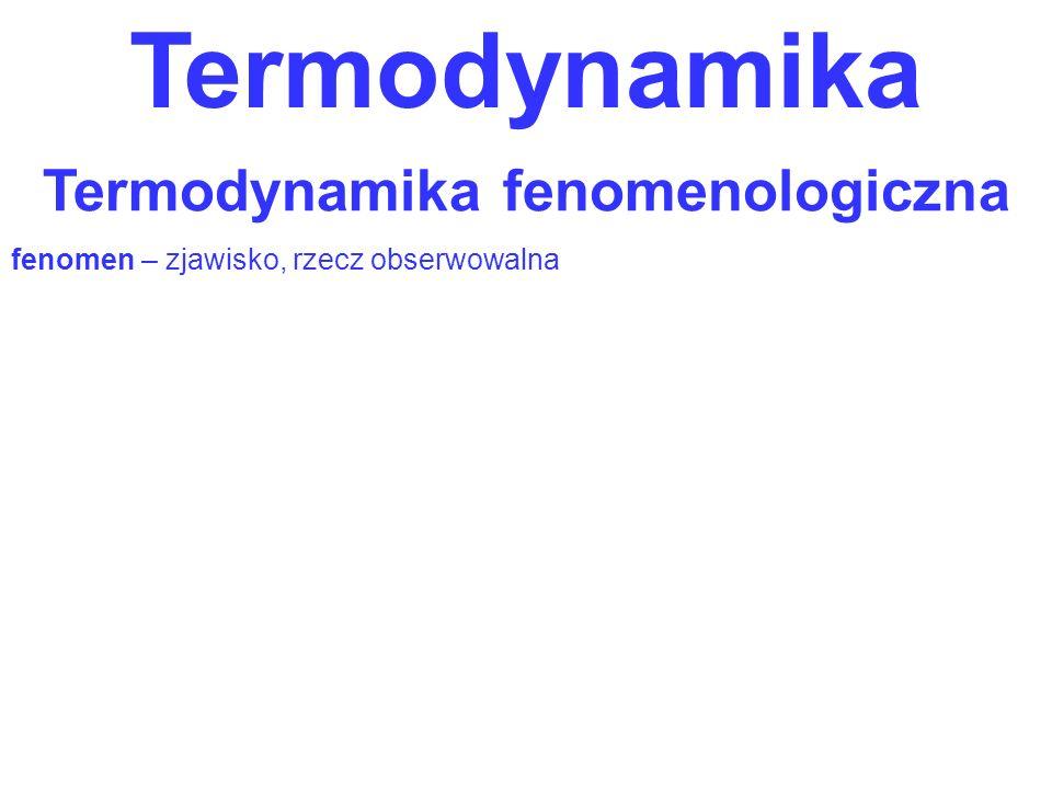 Termodynamika Termodynamika fenomenologiczna fenomen – zjawisko, rzecz obserwowalna