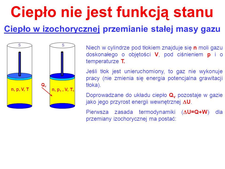 Ciepło nie jest funkcją stanu Ciepło w izochorycznej przemianie stałej masy gazu Niech w cylindrze pod tłokiem znajduje się n moli gazu doskonałego o