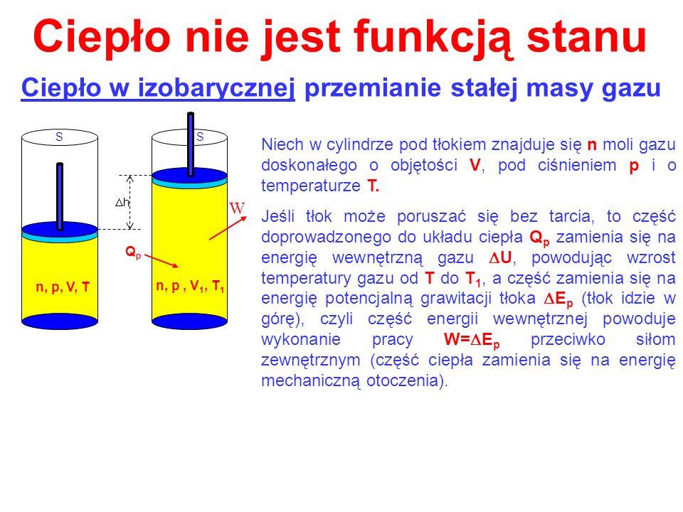 Ciepło nie jest funkcją stanu Ciepło w izobarycznej przemianie stałej masy gazu h SS n, p, V, T QpQp n, p, V 1, T 1 Niech w cylindrze pod tłokiem znaj