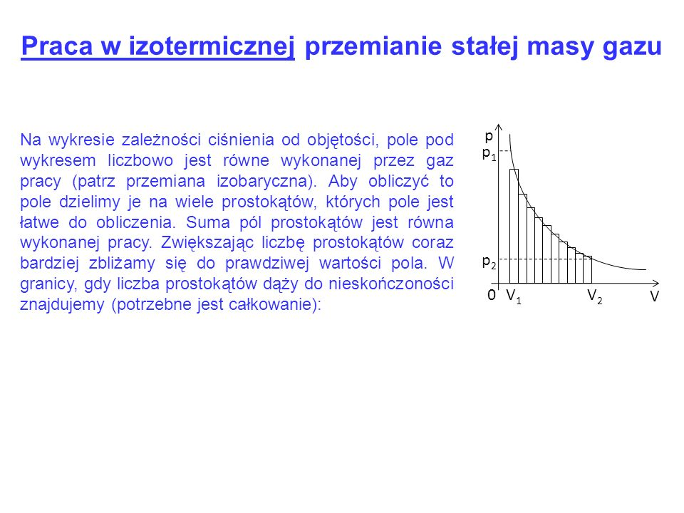 p1p1 p V 0V1V1 V2V2 p2p2 Na wykresie zależności ciśnienia od objętości, pole pod wykresem liczbowo jest równe wykonanej przez gaz pracy (patrz przemia