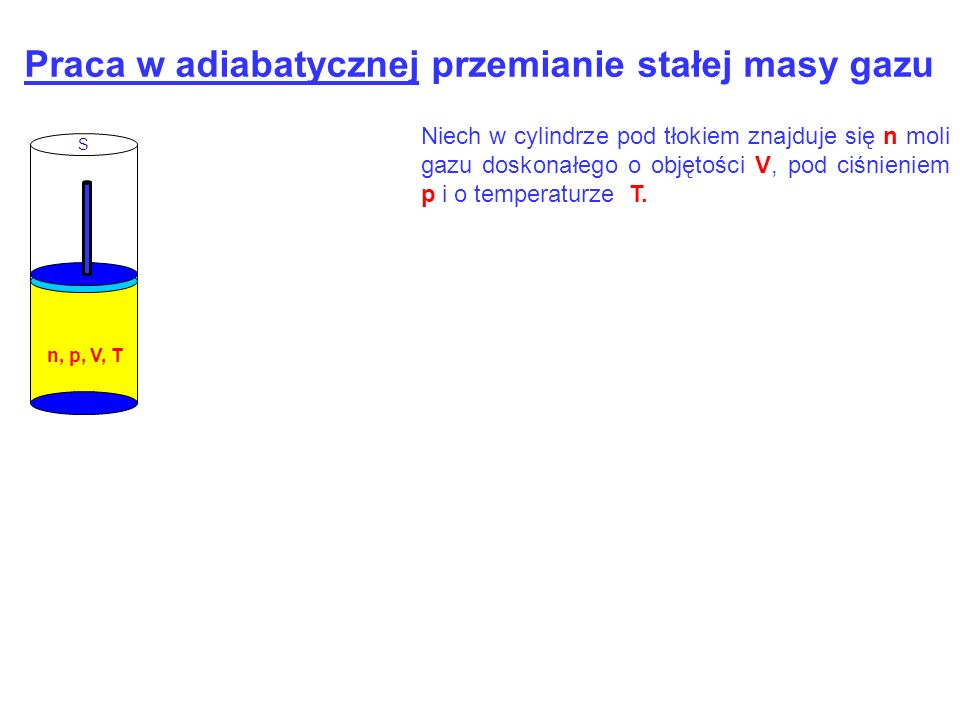 S n, p, V, T Praca w adiabatycznej przemianie stałej masy gazu Niech w cylindrze pod tłokiem znajduje się n moli gazu doskonałego o objętości V, pod c