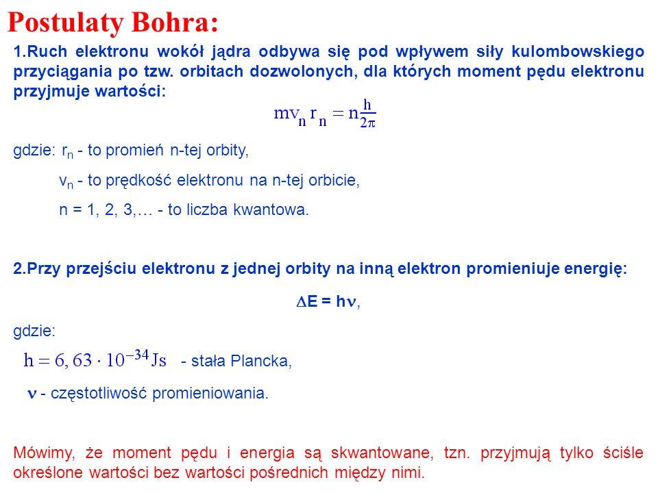 1.Ruch elektronu wokół jądra odbywa się pod wpływem siły kulombowskiego przyciągania po tzw. orbitach dozwolonych, dla których moment pędu elektronu p