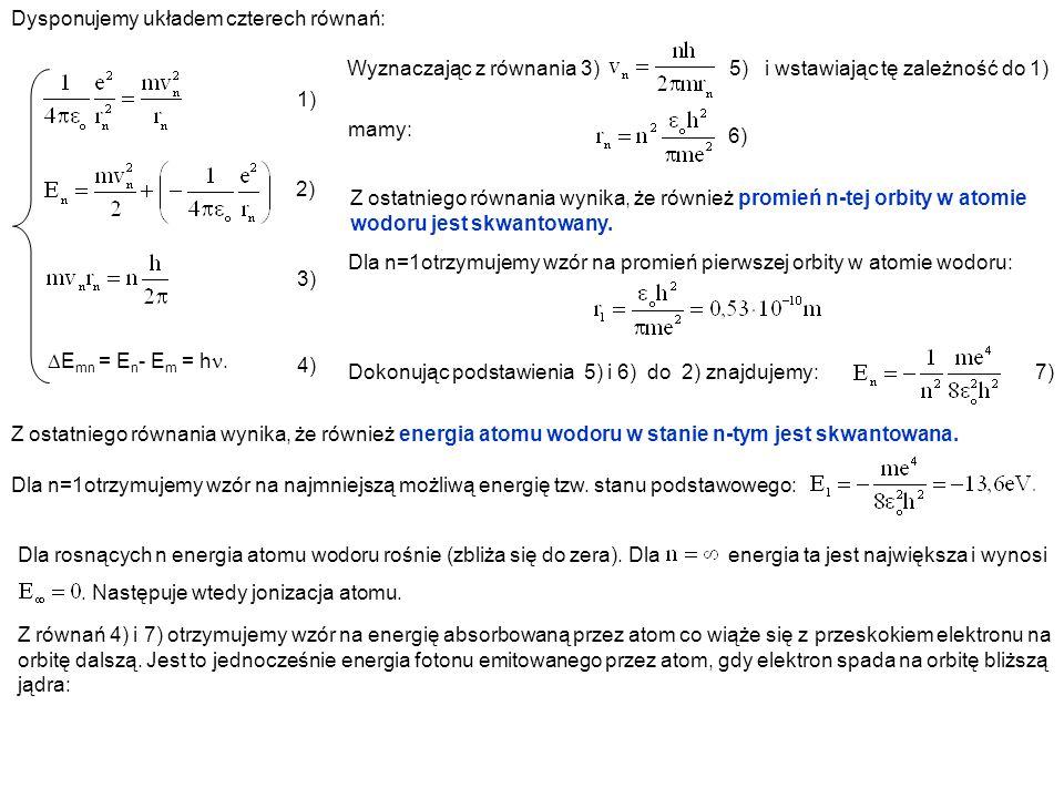 Dysponujemy układem czterech równań: 1) E mn = E n - E m = h. 2) 3) 4) Wyznaczając z równania 3) 5) i wstawiając tę zależność do 1) Z ostatniego równa