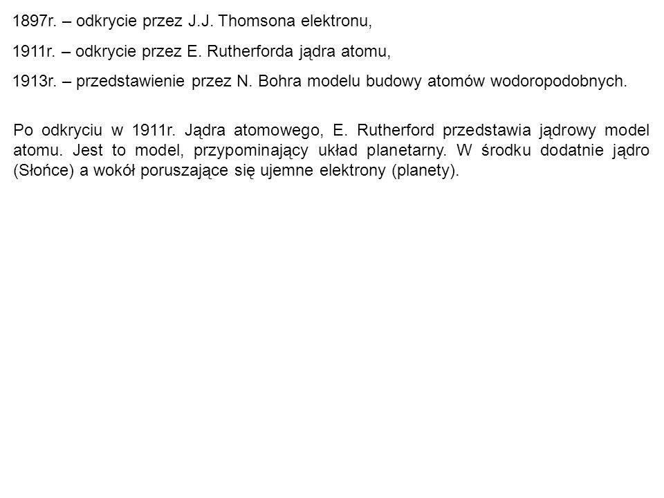 1897r.– odkrycie przez J.J. Thomsona elektronu, 1911r.