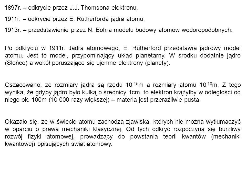 1897r. – odkrycie przez J.J. Thomsona elektronu, 1911r. – odkrycie przez E. Rutherforda jądra atomu, 1913r. – przedstawienie przez N. Bohra modelu bud