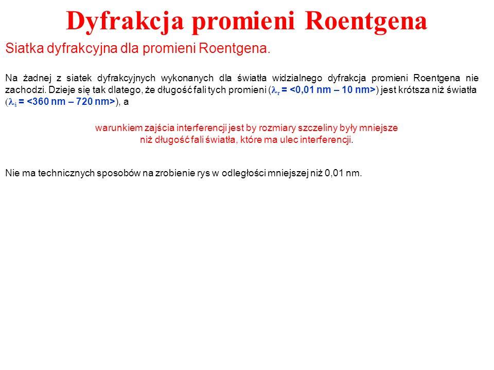 Dyfrakcja promieni Roentgena Siatka dyfrakcyjna dla promieni Roentgena. Na żadnej z siatek dyfrakcyjnych wykonanych dla światła widzialnego dyfrakcja