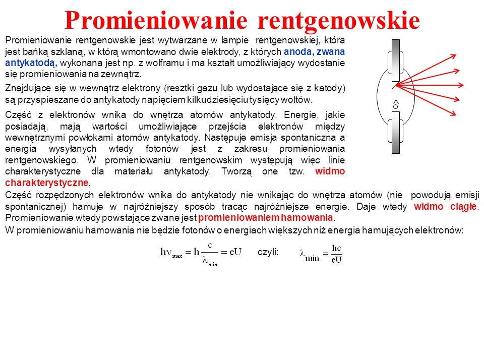 Promieniowanie rentgenowskie Znajdujące się w wewnątrz elektrony (resztki gazu lub wydostające się z katody) są przyspieszane do antykatody napięciem