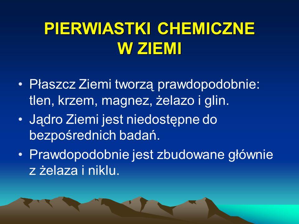 PIERWIASTKI CHEMICZNE W ZIEMI Płaszcz Ziemi tworzą prawdopodobnie: tlen, krzem, magnez, żelazo i glin. Jądro Ziemi jest niedostępne do bezpośrednich b