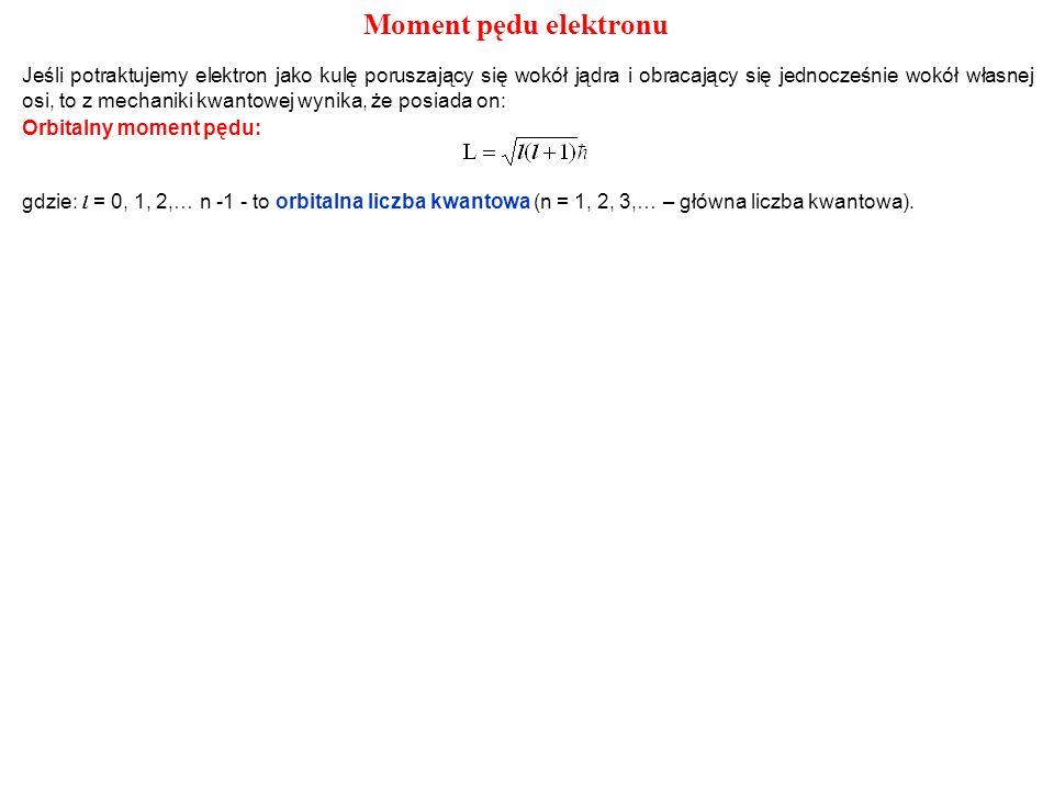 Orbitalny moment pędu: gdzie: l = 0, 1, 2,… n -1 - to orbitalna liczba kwantowa (n = 1, 2, 3,… – główna liczba kwantowa). Moment pędu elektronu Jeśli