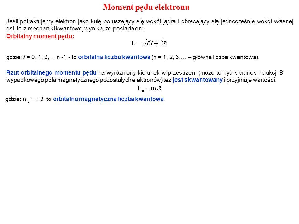 Orbitalny moment pędu: gdzie: l = 0, 1, 2,… n -1 - to orbitalna liczba kwantowa (n = 1, 2, 3,… – główna liczba kwantowa). Rzut orbitalnego momentu pęd