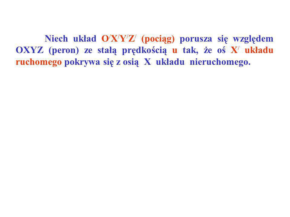 Niech układ O / X / Y / Z / (pociąg) porusza się względem OXYZ (peron) ze stałą prędkością u tak, że oś X / układu ruchomego pokrywa się z osią X ukła