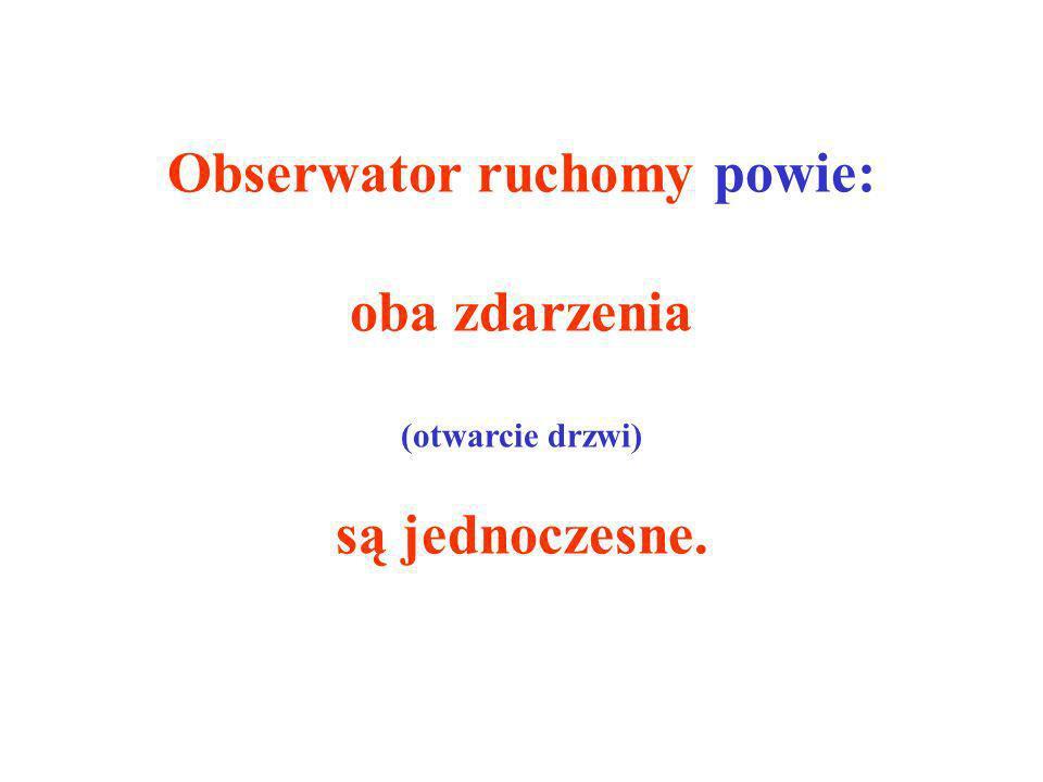 Obserwator ruchomy powie: oba zdarzenia (otwarcie drzwi) są jednoczesne.